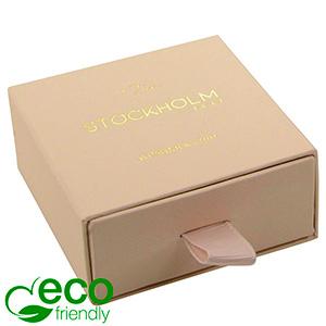 Stockholm ECO smykkeæske til øreringe / vedhæng Nude karton med struktur / Sort skumindsats 65 x 65 x 30 (58 x 60 x 15 mm)