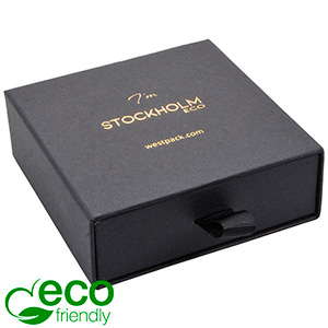 Stockholm ECO Jewellery Box for Bangle Black Buckram Cardboard/ Black Foam 85 x 85 x 30 (80 x 82 x 15 mm)