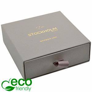 Stockholm ECO Jewellery Box for Bangle Grey Buckram Cardboard/ Black Foam 85 x 85 x 30 (80 x 82 x 15 mm)