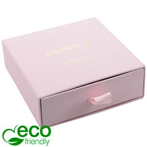 Stockholm ECO Jewellery Box for Bangle Rose-coloured Buckram Cardboard/ Black Foam 85 x 85 x 30 (80 x 82 x 15 mm)
