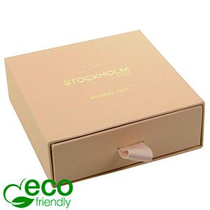 Stockholm ECO smykkeæske til halskæde/ armbånd Nude karton med struktur / Sort skumindsats 85 x 85 x 30 (80 x 82 x 15 mm)