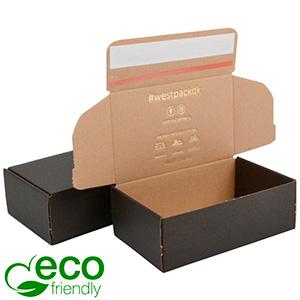 ECO Postdoosje, 188x111x64 mm Zwart karton met tapesluiting 188 x 111 x 64 (170 x 105 x 60 mm)  398 gsm