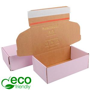 Karton fasonowy ECO, 188x111x64 mm Różowy karton z paskiem klejowym 188 x 111 x 64 (170 x 105 x 60 mm)  398 gsm