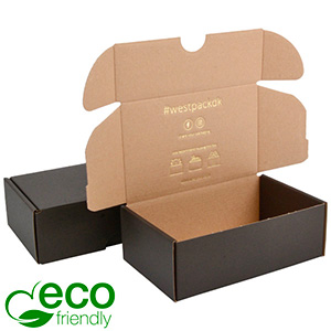 ECO Postal Box, 185x109x62mm Black / Plain Brown Cardboard 185 x 109 x 62 (166 x 102 x 60 mm)  398 gsm