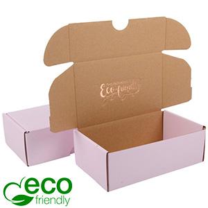 ECO Postdoosje, 185x109x62mm Roze / Naturel karton 185 x 109 x 62 (166 x 102 x 60 mm)  398 gsm