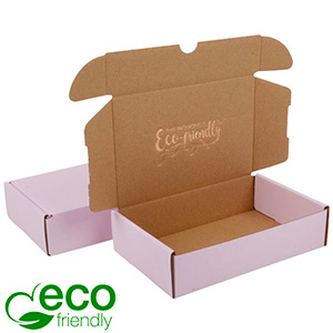 ECO Postdoosje, 183x116x44mm Roze / Naturel karton 183 x 116 x 44 (168 x 111 x 41 mm)  398 gsm