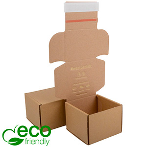 ECO Postal Box Large Letter, 120x120x90 mm Plain Brown Cardboard w/adhesive strips 120 x 120 x 90 (103 x 112 x 82 mm)  398 gsm