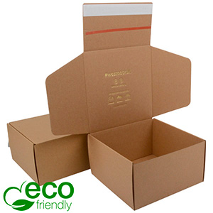 ECO Postal Box, 200x200x110 mm Plain Brown Cardboard w/adhesive strips 200 x 200 x 110 (190 x 198 x 103 mm)  437 gsm