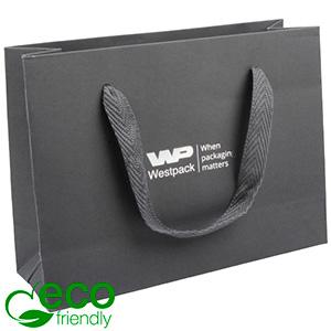 ECO Luxury Carrier Bag in Sturdy Cardboard, Small Grey Kraft Paper/ Grey Fabric Handle 200 x 150 x 70 250 gsm