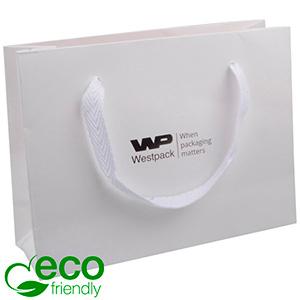 Eco Lyxpåse i kraftig kartong med handtag, liten Matt vit papper med vävt handtag i vit tyg 200 x 150 x 70 250 gsm