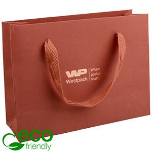 ECO Luxe papieren draagtasje, stevig karton, klein Terracotta kraftpapier 200 x 150 x 70 250 gsm