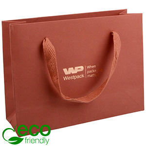 ECO Luxury Carrier Bag in Sturdy Cardboard, Small Terracotta Kraft Paper/ Fabric Handle 200 x 150 x 70 250 gsm