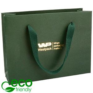 Eco Lyxpåse i kraftig kartong med handtag, liten Matt mörkgrön papper med vävt tyg handtag 200 x 150 x 70 250 gsm