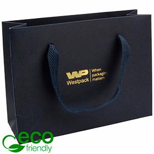 Eco Lyxpåse i kraftig kartong med handtag, liten Mörkblått kraftpapper med vävt tyg handtag 200 x 150 x 70