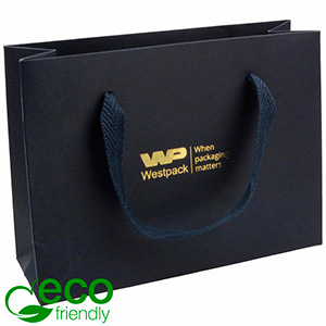 ECO Luxury Carrier Bag in Sturdy Cardboard, Small Dark Blue Kraft Paper with Woven Handle 200 x 150 x 70