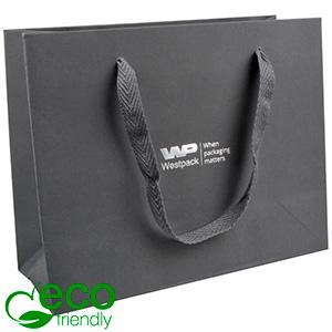 Eco Lyxpåse i kraftig kartong med handtag, stor Matt grå papper med vävt handtag i grå tyg 250 x 200 x 100 250 gsm