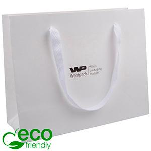 Eco Lyxpåse i kraftig kartong med handtag, stor Matt Vit papper med vävt handtag i vit tyg 250 x 200 x 100 250 gsm