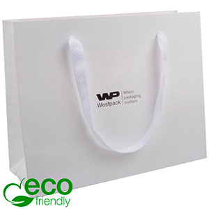 ECO Luxury Carrier Bag in Sturdy Cardboard, Large White Kraft Paper/ White Fabric Handle 250 x 200 x 100 250 gsm