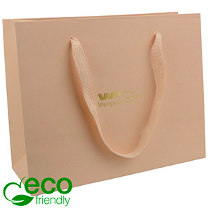 Eco Lyxpåse i kraftig kartong med handtag, stor Matt varm beige papper med vävt handtag 250 x 200 x 100 250 gsm
