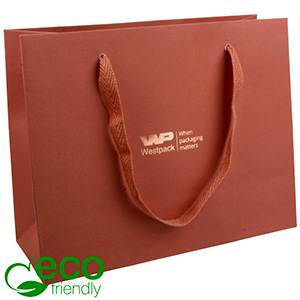 ECO Luxury Carrier Bag in Sturdy Cardboard, Large Terracotta Kraft Paper/ Fabric Handle 250 x 200 x 100 250 gsm