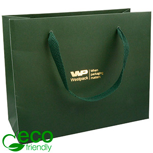 ECO Luxury Carrier Bag in Sturdy Cardboard, Large Dark Green Kraft Paper/ Green Fabric Handle 250 x 200 x 100