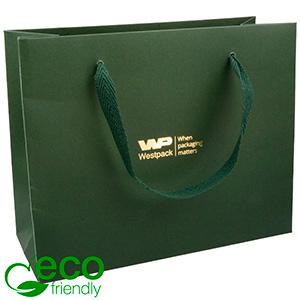 ECO Luxury Carrier Bag in Sturdy Cardboard, Large Dark Green Kraft Paper/ Green Fabric Handle 250 x 200 x 100 250 gsm