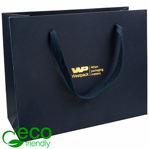 ECO Luxury Carrier Bag in Sturdy Cardboard, Large Dark Blue Kraft Paper with Woven Handle 250 x 200 x 100 250 gsm