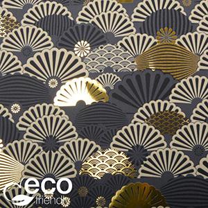 Miljøvenligt gavepapir 1135 ECO Mørkegrå med motiver i guld, beige og sort  20 cm - 100 m - 80 g