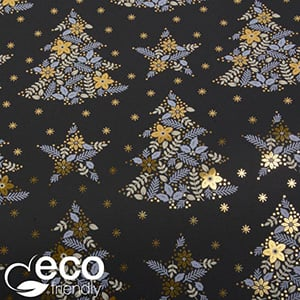 Eco-friendly Wrapping Paper nº 1156 ECO Black with christmas motif in gold, grey and white  20 cm - 100 m - 80 g