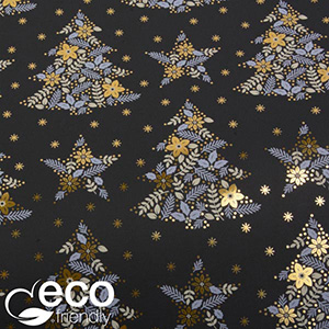 Milieuvriendelijk cadeaupapier nº 1156 ECO Zwart met kerstmotief in goudkleur, grijs en wit  30 cm - 100 m - 80 g