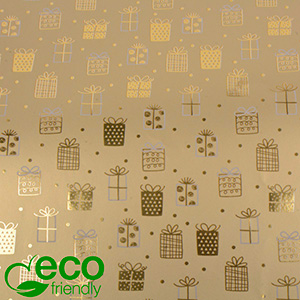 Miljøvenligt gavepapir 1169 ECO Guld, med små prikker og gaver  30 cm - 100 m - 80 g