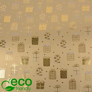 Miljøvenligt gavepapir 1169 ECO Guld, med små prikker og gaver  50 cm - 100 m - 80 g