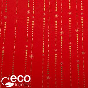Miljøvenligt gavepapir 1635 ECO Rød med guld stjerner og prikker  20 cm - 100 m - 80 g