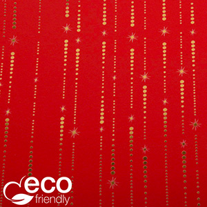 Eco-friendly Wrapping Paper nº 1635 ECO Red with gold stars and dots  30 cm - 100 m - 80 g