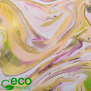 Eco-friendly Wrapping Paper nº 9905 ECO Marble pattern with green, rose and gold accents  20 cm - 100 m - 80 g