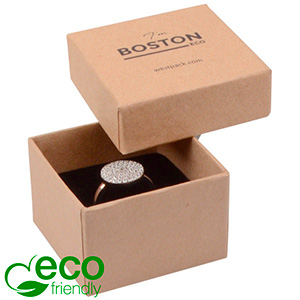 Storkøb -  Boston Eco smykkeæske til ring Mat naturfarvet FSC®-certificeret karton/Sort skum 50 x 50 x 32