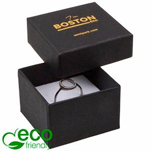 Grootverpakking -  Boston Eco doosje voor ring Zwart karton / Wit foam 50 x 50 x 32