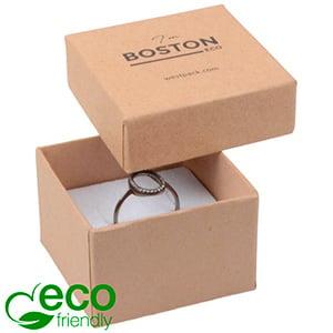 Storkøb -  Boston Eco smykkeæske til ring Mat naturfarvet FSC®-certificeret karton/Hvid skum 50 x 50 x 32