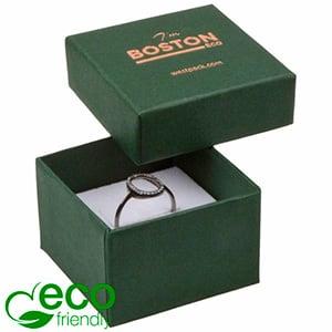 Storkøb -  Boston Eco smykkeæske til ring Mat mørkegrøn FSC®-certificeret karton/ Hvid skum 50 x 50 x 32