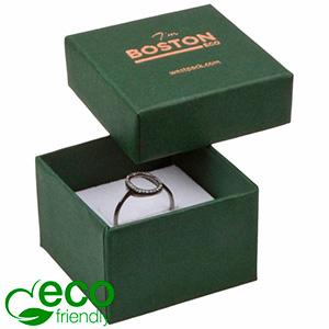 Grootverpakking -  Boston Eco doosje voor ring Donkergroen FSC®-gecertificeerd karton/ Wit foam 50 x 50 x 32
