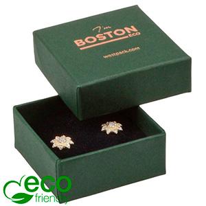 Storkøb -  Boston Eco smykkeæske til ørestikker Mat mørkegrøn FSC®-certificeret karton/ Sort skum 50 x 50 x 22