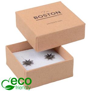 Bulk buy -  Boston Eco box for earrings / charms Natural cardboard / White foam 50 x 50 x 22