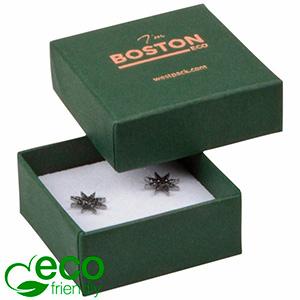 Storkøb -  Boston Eco smykkeæske til ørestikker Mat mørkegrøn FSC®-certificeret karton/ Hvid skum 50 x 50 x 22