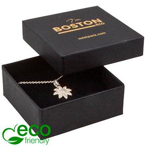 Bulk buy -  Boston Eco box for pendant / brooch Black cardboard / Black foam 65 x 65 x 25