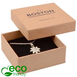 Bulk buy -  Boston Eco box for pendant / brooch Natural cardboard / Black foam 65 x 65 x 25