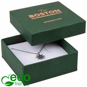 Storkøb -  Boston Eco smykkeæske til vedhæng Mat mørkegrøn FSC®-certificeret karton/ Hvid skum 65 x 65 x 25