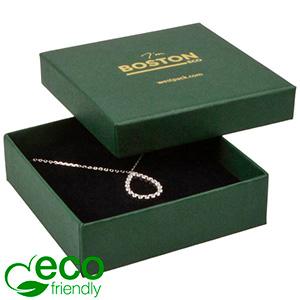 Storkøb -  Boston Eco smykkeæske til halskæde Mat mørkegrøn FSC®-certificeret karton/ Sort skum 86 x 86 x 26