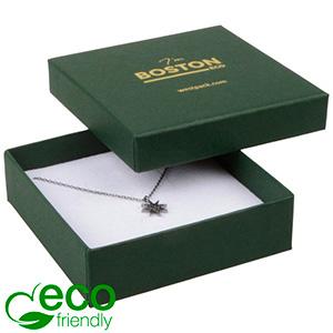 Storkøb -  Boston Eco smykkeæske til halskæde Mat mørkegrøn FSC®-certificeret karton/ Hvid skum 86 x 86 x 26