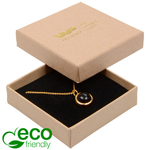 Bulk buy -  Frankfurt Eco box for earrings/pendant Natural cardboard / Black foam 65 x 65 x 17