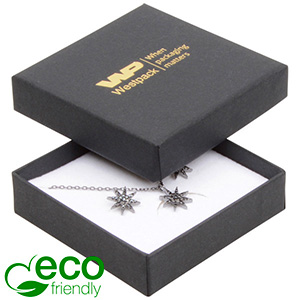 Bulk buy -  Frankfurt Eco box for earrings/pendant Black cardboard / White foam 65 x 65 x 17
